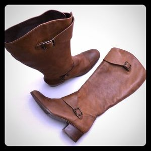POUR La VICTOIRE Sz 8.5 Over the Calf Leather Boot